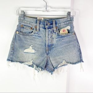 Levi's High Rise Wedgie Fit Shorts Out of The Blue